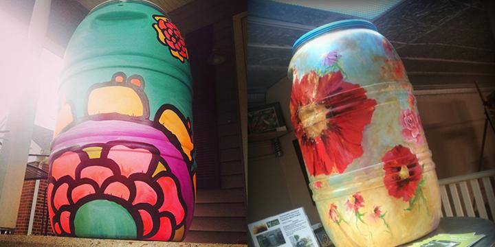 Painted Rain Barrels